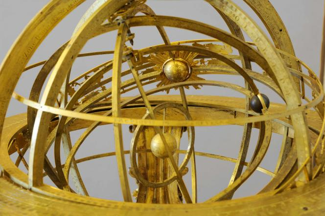 Détail de la sphère armillaire géocentrée de Jérôme Martinot (1671-1724).
