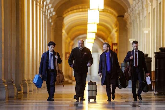 L'avocat d'Abdelkader Merah, Eric Dupond-Moretti (deuxième en partant de la gauche), entouré d'Archibald Celeyron et Antoine Vey.