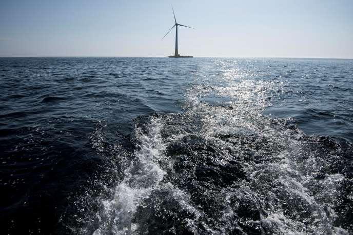 Floatgen, la première éolienne flottante au large de La Turballe (Loire-Atlantique), en septembre 2018.