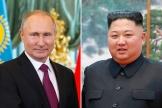 A gauche : le président russe Vladimir Poutine (avril à Moscou) ; et à droite : le président nord-coréen Kim Jong-un (october 2018).