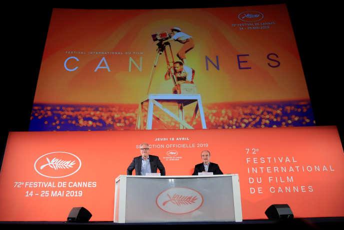 Les organisateurs de la 72e édition du Festival de Cannes, Thierry Frémaux et Pierre Lescure, à Paris le 18 avril.