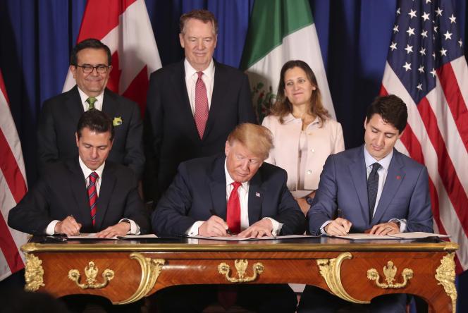 Signature du nouvel accord de libre-échange entre les Etats-Unis, le Mexique et le Canada, à Buenos Aires, le 30novembre 2018.