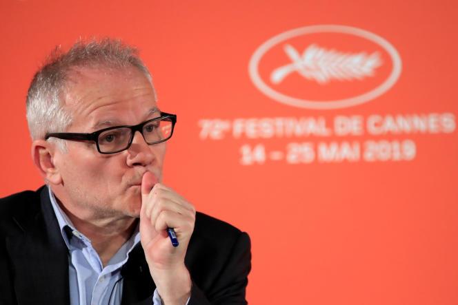 Thierry Frémaux, le délégué général de la manifestation, lors de la conférence de presse d'annonce de la sélection du 72e Festival de Cannes, à Paris, enavril2019.
