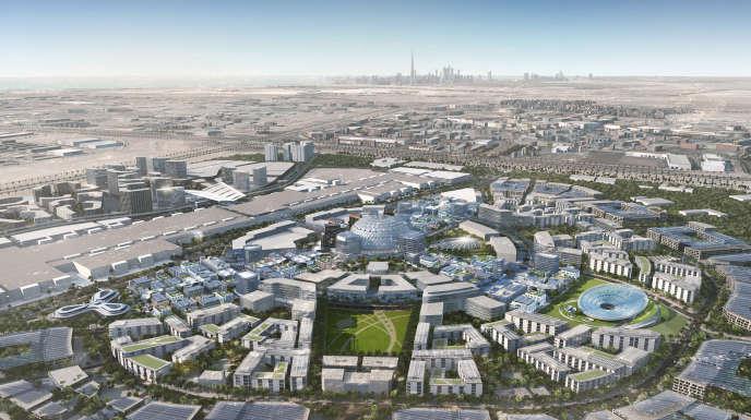 Vue du quartier District 2020, tel qu'il sera transformé après l'Expo 2020.