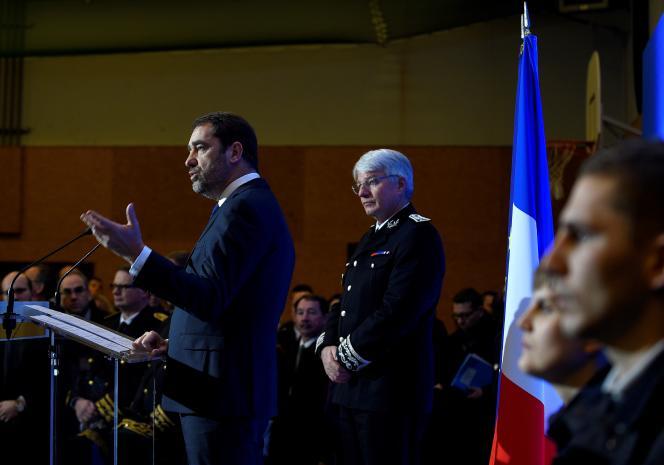 Le directeur général de la police nationale (DGPN), Eric Morvan, lors d'un discours du ministre de l'intérieur, Christophe Castaner, le 10 janvier.