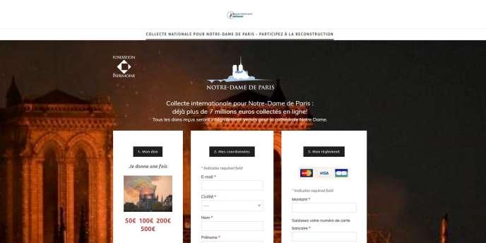 Capture d'écran du site signalé au parquet par la Fondation du patrimoine.