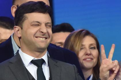 L'humoriste Volodymyr Zelensky, candidat et grand favori de l'élection présidentielle ukrainienne, au stade olympique de Kiev, le 19 avril.