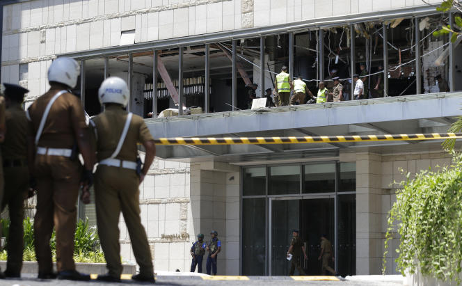 L'étage de l'hôtelShangri-La après l'explosion qui l'a détruit, à Colombo, le 21 avril.