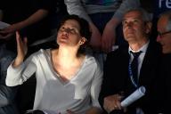 La ministre des sports, Roxana Maracineanu, et le président de la Fédération française de natation, Gilles Sezionale, le 21 avril, à Rennes.