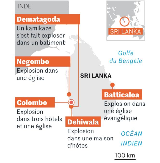 Carte des attentats perpétrés au Sri Lanka, samedi 20 avril.