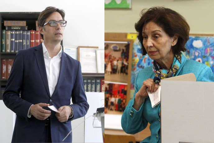 Les candidats Stevo Pendarovski et Gordana Siljanovska-Davkova sont au coude à coude, au premier tour de l'élection présidentielle, à Skopje, le 21 avril.