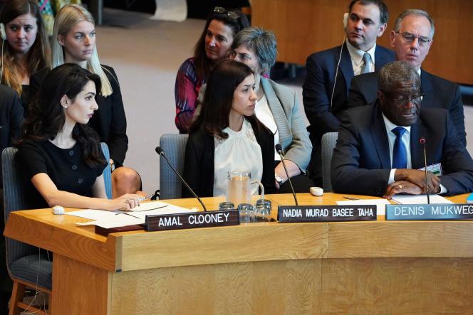 Amal Clooney, Nadia Murad et Denis Mukwege, le 23 avril à l'ONU.