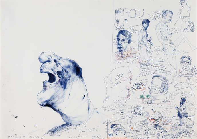«Composition (Portrait of Bacon)» (1980), de Stéphane Mandelbaum, stylo-bille et feutre de couleur sur papier. Collection Graffe, Bruxelles.