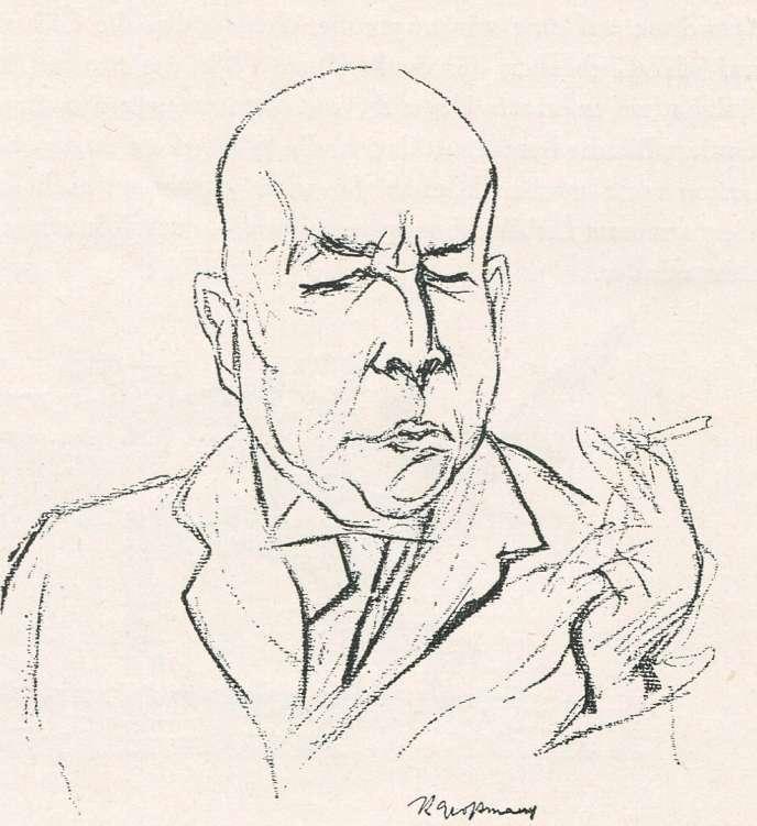 Oswald Spengler, croquis de Rudolf Grossmann, 1922.