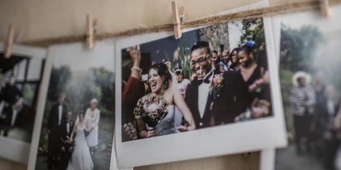 Photos de mariage de Cheryl et Mpho, couple mixte dans l'Afrique du Sud post-apartheid, le 7 mars 2019 à Johannesburg.