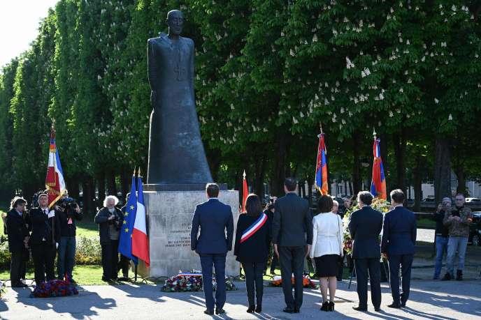 Cérémonie de commémoration du génocide arménien, à Paris le 24 avril 2019. En présence du premier ministre Edouard Philippe (centre) et des représentants du Conseil de coordination des organisations arméniennes en France.