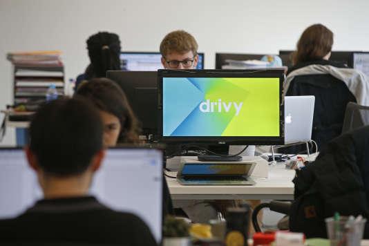 Dans les locaux de Drivy, la start-up française de location de voitures entre particuliers, à Paris, en avril 2016.