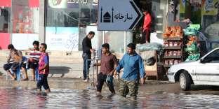 La ville iranienne innondée de Ahvaz, dans la province du Khuzestan, le 10 avril.