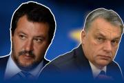De gauche à droite, Matteo Salvini, Viktor Orban, Marine Le Pen.