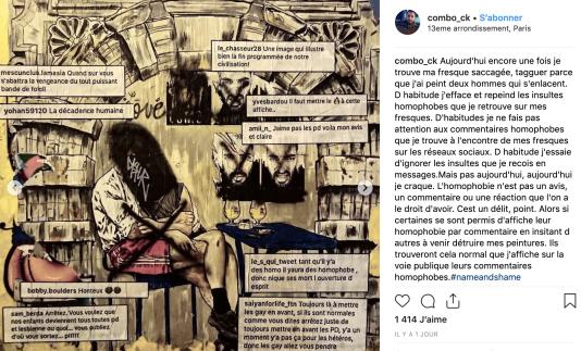 Réalisée en octobre 2018 dans le 13e arrondissement de Paris, la fresque vandalisée représente deux hommes enlacés.