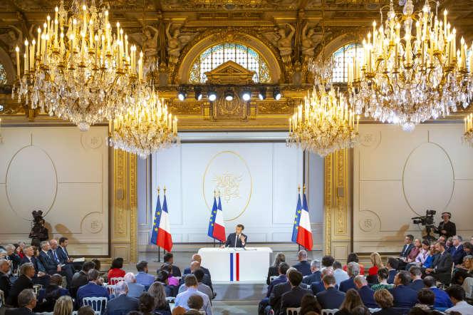 Emmanuel Macron, président de la République donne une conférence de presse au Palais de l'Elysée à Paris, jeudi 25 avril