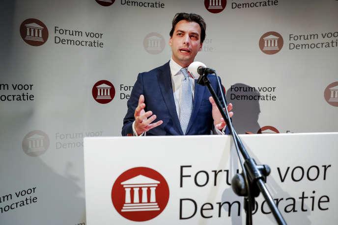 Thierry Baudet lors d'un discours à Zeist (Pays-Bas), le 21 mars.
