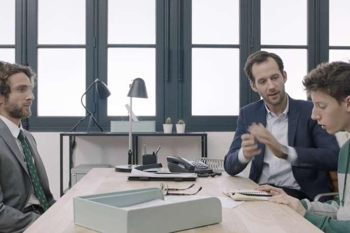 « Stage d'observation », l'un des épisodes d'« Un entretien», saison 1, de Julien Patry, avec Benjamin Lavernhe (deuxième à droite).