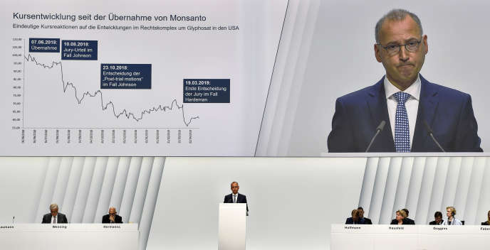 Werner Baumann a défendu le rachat de Monsanto par Bayer devant les investisseurs à Bonn, le 26 avril.