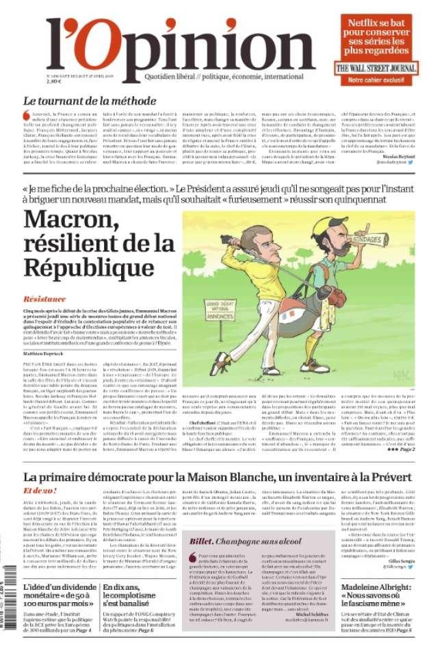 Pour« L'Opinion», Macron est« le résilient de la République».« Après avoir traversé une crise d'une ampleur et d'une complexité rarement vues (...) le chef de l'Etat a, plutôt que de renier sa politique, procédé à un rare mea culpa personnel».« Je pense que je peux mieux faire», dit-il, mais pas sur ses choix économiques, fiscaux, sociaux ou sociétaux, non, sur la manière de conduire le changement et les réformes», note Nicolas Beytout, journaliste politique.