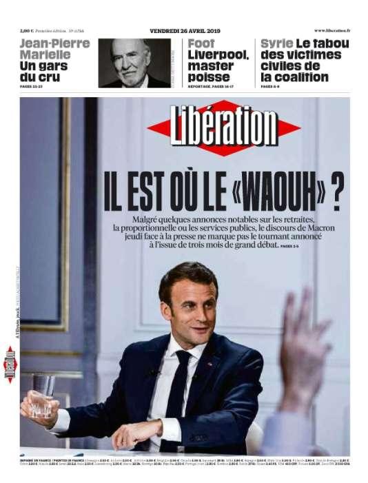 """«Il est où le """"waouh""""?»,titre «Libération». Le directeur de la rédaction Laurent Joffrin n'est pas convaincu : « Le président cherchait un effet Waouh, onomatopée anglo-saxonne qui exprime la surprise admirative. Pas sûr que les Français l'aient ressenti. Encore moins les gilets jaunes qui usent d'onomatopées en général moins bobo et attendaient évidemment beaucoup plus»."""
