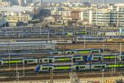 Des TER desservant les Hauts-de-France, en gare de Saint-Denis (Seine-Saint-Denis), en janvier 2017.