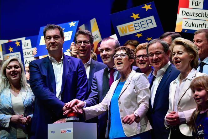 Meeting de lancement de la campagne des conservateurs (CDU-CSU) à Münster, en Rhénanie-du-Nord-Westphalie (Allemagne), le 27avril.