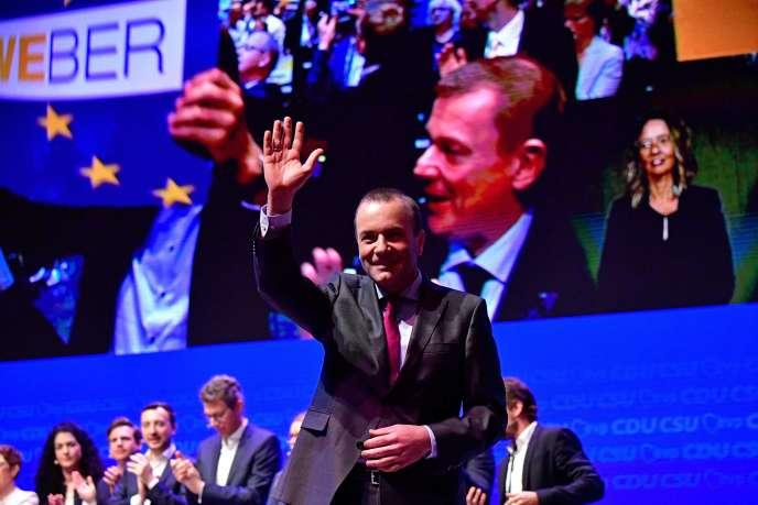 Le Bavarois Manfred Weber, eurodéputé et tête de liste du Parti populaire européen pour l'élection européenne, à l'occasion du lancement de la campagne par les conservateurs allemands (CDU-CSU), le 27 avril 2018, à Muenster, en Allemagne.