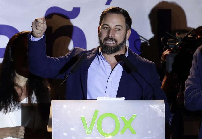 Le chef du parti Vox, Santiago Abascal, lors de la soirée des élections législatives, à Madrid, le 28 avril.