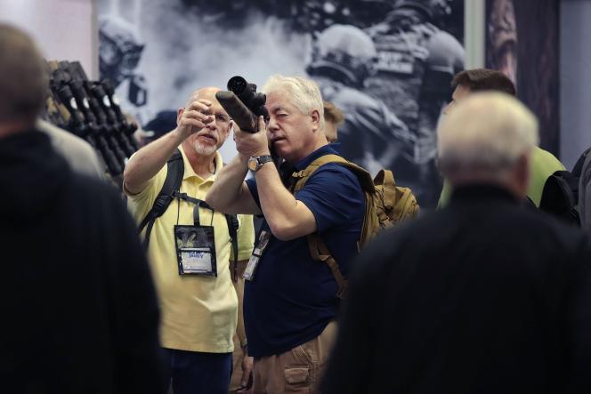 Lors de la convention de la National Rifle Association (NRA), à Indianapolis (Indiana), le 27 avril.