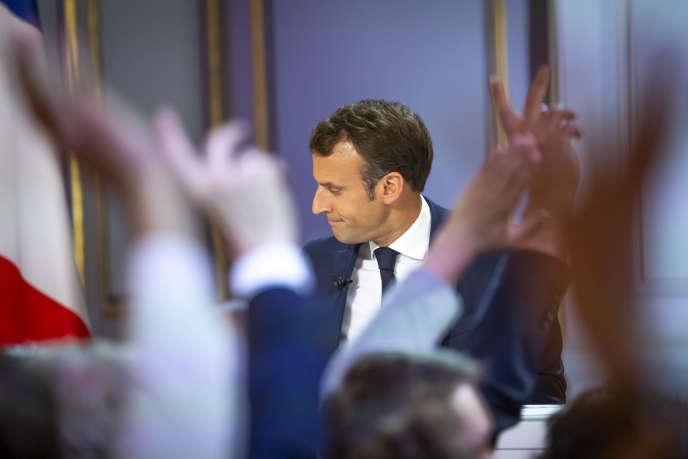 Emmanuel Macron lors d'une conférence de presse à l'Elysée à Paris, le 25 avril.