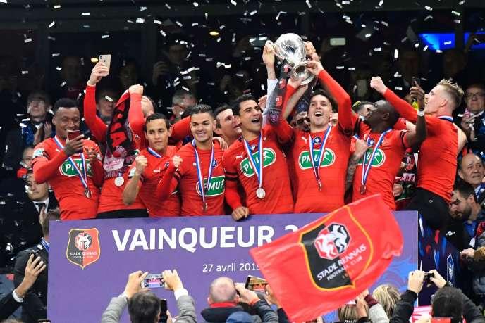 Les Rennais après leur victoire contre le PSG, le 27 avril 2019.