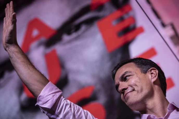 Le premier ministre espagnol et chef de file du parti socialiste (PSOE) Pedro Sanchez, le 28 avril 2019, à Madrid.