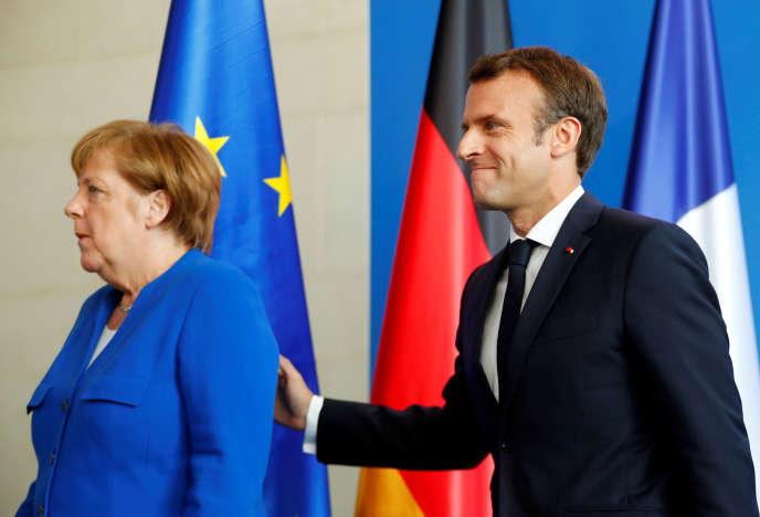 Angela Merkel et Emmanuel Macron, le 29 avril à Berlin.