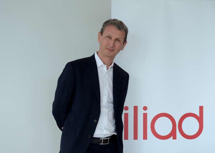 L'ancien directeur général d'Iliad, Maxime Lombardini, pose au siège du groupe en mars 2018.