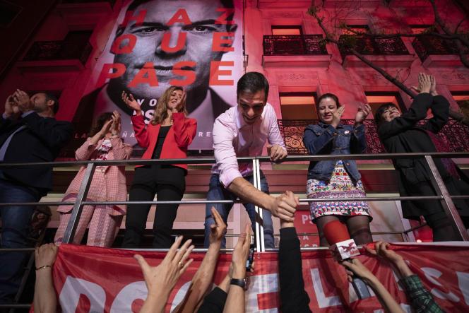 Le premier ministre espagnol, Pedro Sanchez, après l'annonce des résultats des élections législatives, à Madrid, le 28 avril.