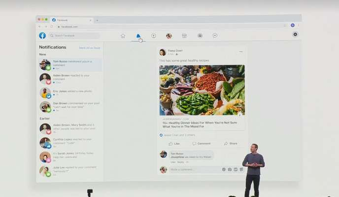 Mark Zuckerberg présente la nouvelle interface de Facebook lors de Facebook F8, le 30 avril, à San Jose (Californie).
