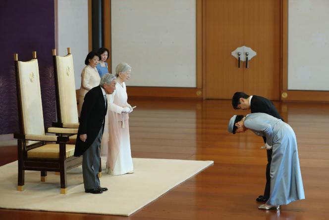 Lors de la cérémonie pour célébrer les trente ans de l'intronisation de l'empereur Akihito, le 24 février 2019.