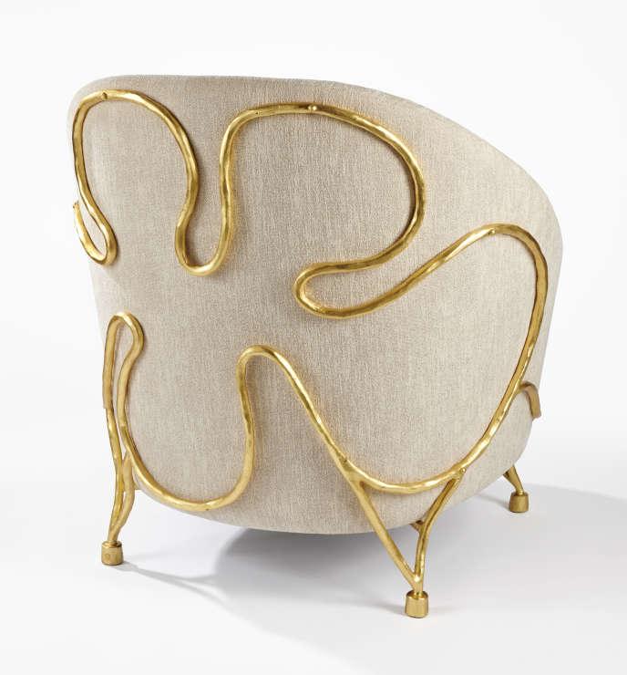 Fauteuil Bérénice en fer forgé doré à la feuille d'or.