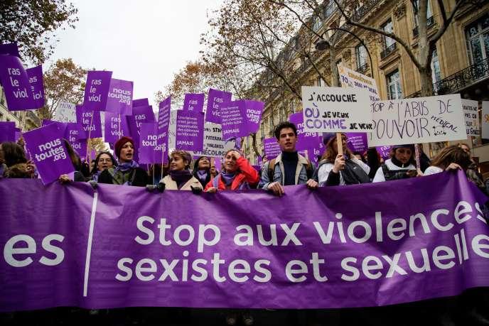 Une manifestation lors de la Journée internationale pour l'élimination des violences faites aux femmes, le 24 novembre 2018, à Paris.