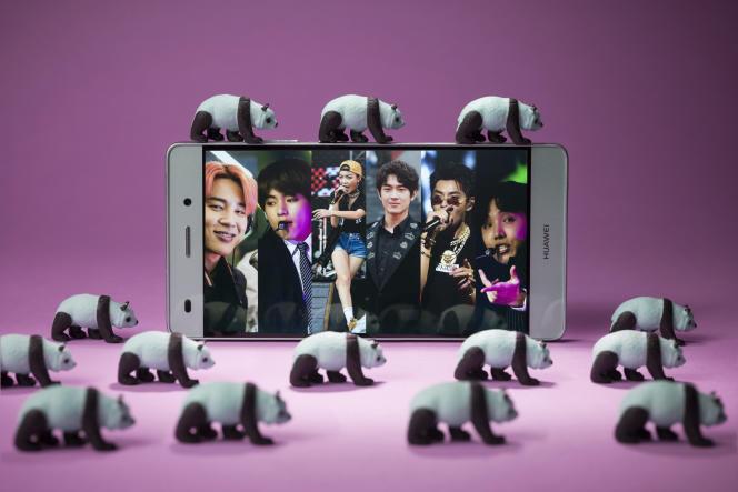 Photomontage avec Jimin et Jungkook, de BTS, la rappeuse Vava et Kris Wu. Émile Loreaux POUR « LE MONDE ».