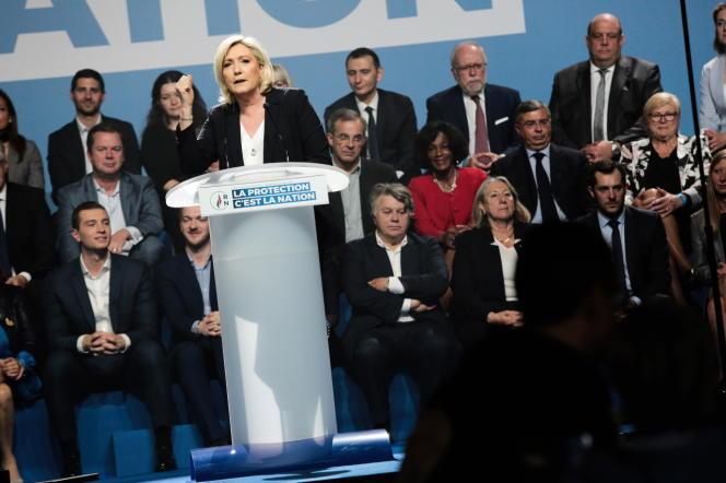 Marine Le Pen, la présidente du Rassemblement national, a de nouveau attaqué l'Europe, dans son discours,le 1er mai, à Metz.
