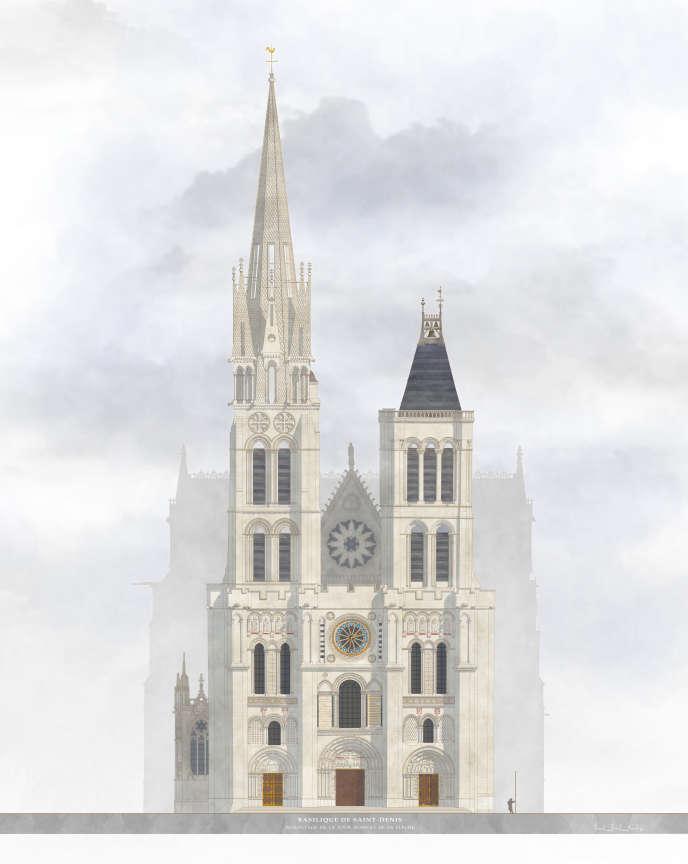 Rendu dessiné du projet de remontage de la flèche en pierre et de la restauration de la basilique royale de Saint-Denis par Jacques Moulin, architecte en chef des monuments historiques, en charge de l'édifice.