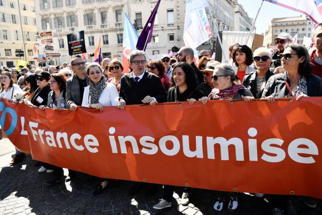 Jean-Luc Mélenchon, lors de la marche pour la Fête des travailleurs, à Marseille, le 1er mai.