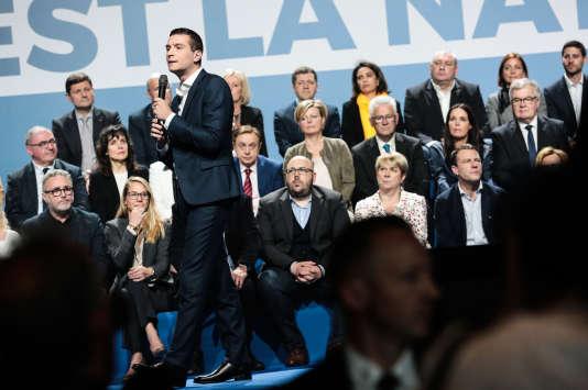La tête de liste du Rassemblement national pour les élections européennes, Jordan Bardella, le 1er mai, à Metz.